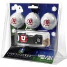 Utah Utes 3 Golf Ball Gift Pack with Spring Action Tool