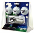 Washington Huskies 3 Ball Golf Gift Pack with Kool Tool