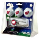 Wisconsin Badgers 3 Ball Golf Gift Pack with Kool Tool