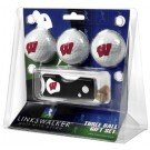 Wisconsin Badgers 3 Golf Ball Gift Pack with Spring Action Tool