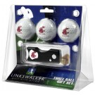 Washington State Cougars 3 Golf Ball Gift Pack with Spring Action Tool