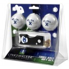 Xavier Musketeers 3 Golf Ball Gift Pack with Spring Action Tool