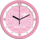 """Arkansas State Red Wolves 12"""" Pink Wall Clock"""