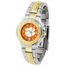 Clemson Tigers Competitor AnoChrome Ladies Watch with Two-Tone Band