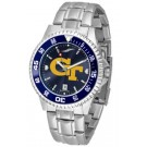 Georgia Tech Yellow Jackets Competitor AnoChrome Men's Watch with Steel Band and Colored Bezel