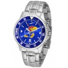 Kansas Jayhawks Competitor AnoChrome Men's Watch with Steel Band and Colored Bezel
