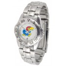 Kansas Jayhawks Gameday Sport Ladies' Watch with a Metal Band