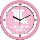 "Louisiana Tech Bulldogs 12"" Pink Wall Clock"