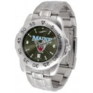 Maine Black Bears Sport Steel Band Ano-Chrome Men's Watch