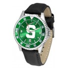 Michigan State Spartans Competitor AnoChrome Men's Watch with Nylon/Leather Band and Colored Bezel
