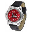 Miami (Ohio) RedHawks Sport AnoChrome Men's Watch with Leather Band