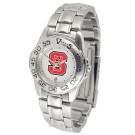 North Carolina State Wolfpack Gameday Sport Ladies' Watch with a Metal Band