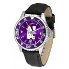 Northwestern Wildcats Competitor AnoChrome Men's Watch with Nylon/Leather Band and Colored Bezel