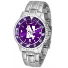 Northwestern Wildcats Competitor AnoChrome Men's Watch with Steel Band and Colored Bezel by