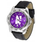 Northwestern Wildcats Sport AnoChrome Men's Watch with Leather Band by