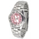 Northwestern Wildcats Ladies Sport Watch with Steel Band and Mother of Pearl Dial by