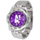 Northwestern Wildcats Sport Steel Band Ano-Chrome Men's Watch by