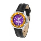 Northwestern State Demons Competitor Ladies AnoChrome Watch with Leather Band and Colored Bezel