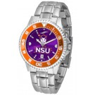 Northwestern State Demons Competitor AnoChrome Men's Watch with Steel Band and Colored Bezel