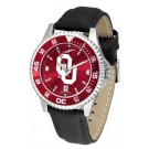 Oklahoma Sooners Competitor AnoChrome Men's Watch with Nylon/Leather Band and Colored Bezel