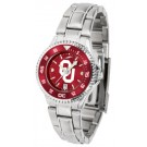 Oklahoma Sooners Competitor AnoChrome Ladies Watch with Steel Band and Colored Bezel