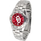 Oklahoma Sooners Sport AnoChrome Ladies Watch with Steel Band