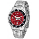 St. Cloud State Huskies Competitor AnoChrome Men's Watch with Steel Band and Colored Bezel