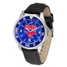 Southern Methodist (SMU) Mustangs Competitor AnoChrome Men's Watch with Nylon/Leather Band and Colored Bezel