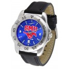 Southern Methodist (SMU) Mustangs Sport AnoChrome Men's Watch with Leather Band