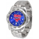 Southern Methodist (SMU) Mustangs Sport Steel Band Ano-Chrome Men's Watch