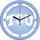 """Texas Christian Horned Frogs 12"""" Blue Wall Clock"""