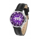 Texas Christian Horned Frogs Competitor Ladies AnoChrome Watch with Leather Band and Colored Bezel