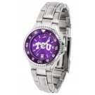 Texas Christian Horned Frogs Competitor AnoChrome Ladies Watch with Steel Band and Colored Bezel