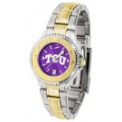 Texas Christian Horned Frogs Competitor AnoChrome Ladies Watch with Two-Tone Band