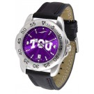 Texas Christian Horned Frogs Men's Sport Watch with Leather Band