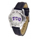 Texas Christian Horned Frogs Ladies Sport Watch with Leather Band