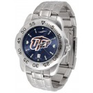 UTEP Texas (El Paso) Miners Sport Steel Band Ano-Chrome Men's Watch