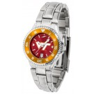 Virginia Tech Hokies Competitor AnoChrome Ladies Watch with Steel Band and Colored Bezel