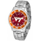 Virginia Tech Hokies Competitor AnoChrome Men's Watch with Steel Band and Colored Bezel