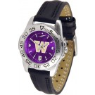 Washington Huskies Sport AnoChrome Ladies Watch with Leather Band