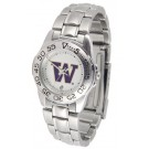 Washington Huskies Gameday Sport Ladies' Watch with a Metal Band