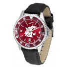 Washington State Cougars Competitor AnoChrome Men's Watch with Nylon/Leather Band and Colored Bezel