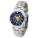 West Virginia Mountaineers Competitor AnoChrome Ladies Watch with Steel Band and Colored Bezel