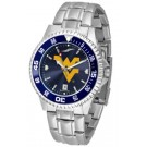 West Virginia Mountaineers Competitor AnoChrome Men's Watch with Steel Band and Colored Bezel