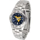 West Virginia Mountaineers Sport AnoChrome Ladies Watch with Steel Band