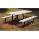 "8' Durable All Welded Picnic Table With 2"" x 10"" x 8' Redwood Stained Pine Planks"