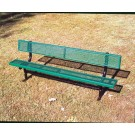 "8' Inground Park Bench with Back and 2"" x 12"" x 8' Vinyl Clad Expanded Steel Planks by"