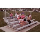 27' Portable Stadium Aluminum 10 Row Bleachers with Guard Rails and Double Footboards by