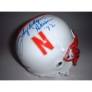 "Johnny Rodgers Autographed Nebraska Cornhuskers Schutt Mini Helmet with ""Heisman 72"" Inscription"