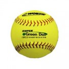 "11"" Green Dot® Red Stitch ProTAC Yellow Cover Softballs from Worth - 1 Dozen"